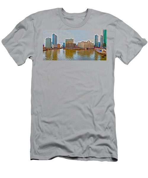 Men's T-Shirt (Slim Fit) featuring the photograph Chicago Skyline And Streets by Alex Grichenko