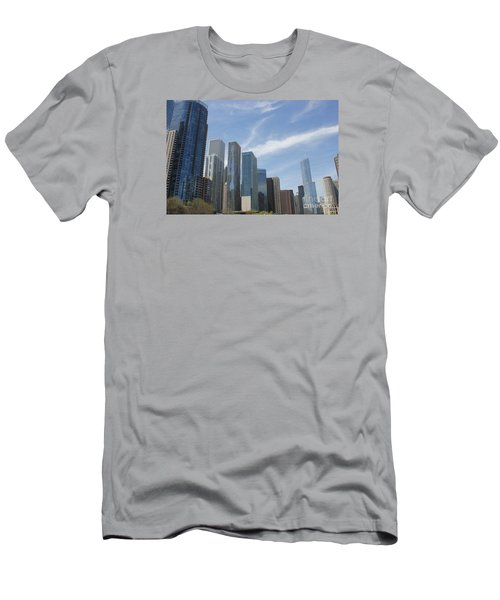 Chicago Skyscrapers Men's T-Shirt (Slim Fit) by The Art of Alice Terrill
