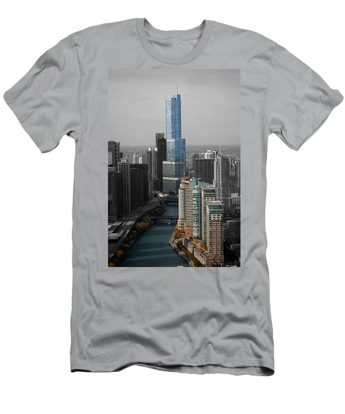 Chicago Trump Tower Blue Selective Coloring Men's T-Shirt (Slim Fit) by Thomas Woolworth