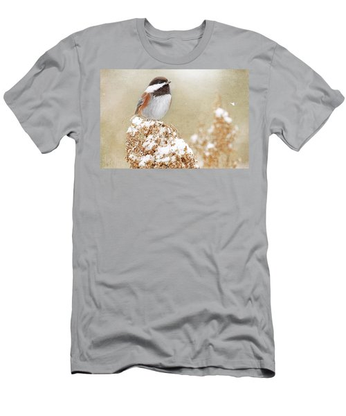 Chickadee And Falling Snow Men's T-Shirt (Slim Fit) by Peggy Collins