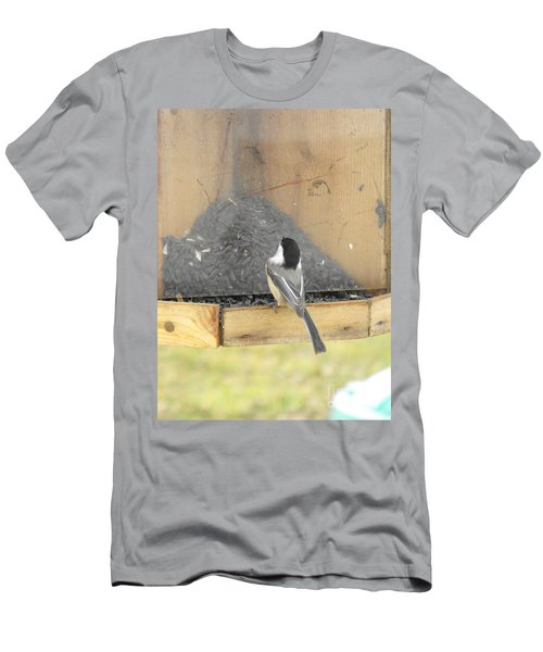 Chickadee Eating Lunch Men's T-Shirt (Athletic Fit)