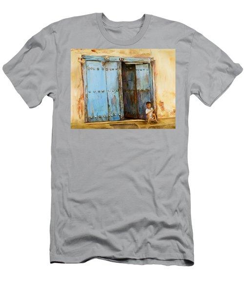 Child Sitting In Old Zanzibar Doorway Men's T-Shirt (Athletic Fit)