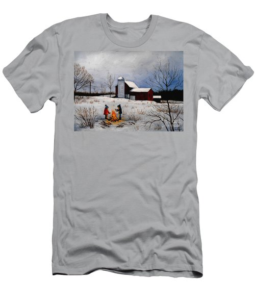 Children Warming Up By The Fire Men's T-Shirt (Athletic Fit)