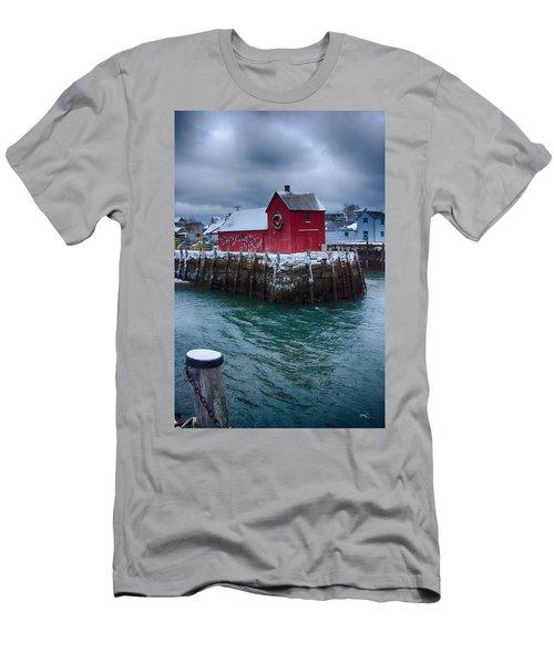 Christmas In Rockport Massachusetts Men's T-Shirt (Slim Fit) by Jeff Folger