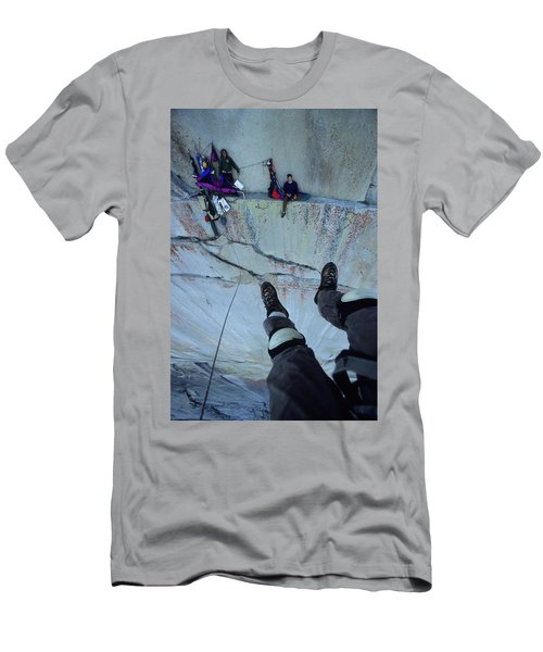 Climber View Of Ascending Cliff Men's T-Shirt (Athletic Fit)
