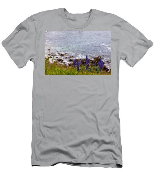Coastal Cliff Flowers Men's T-Shirt (Slim Fit) by Melinda Ledsome