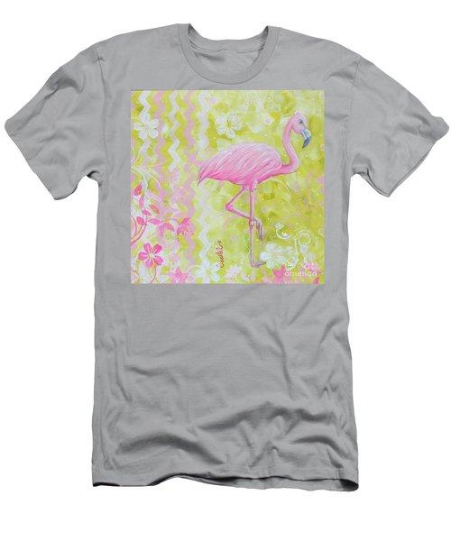 Coastal Decorative Pink Green Floral Chevron Pattern Art Flamingo Dance By Madart Men's T-Shirt (Athletic Fit)