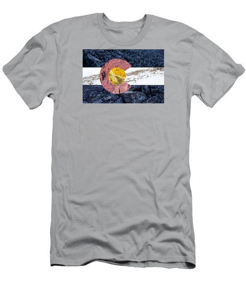 Colorado State Flag With Mountain Textures Men's T-Shirt (Athletic Fit)