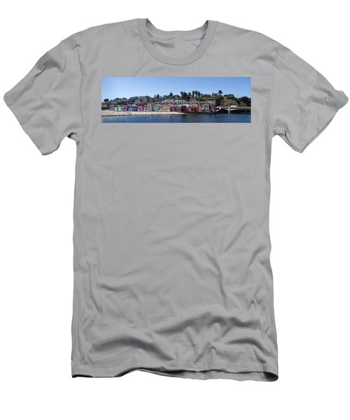 Colorful Buildings And Beach Men's T-Shirt (Athletic Fit)