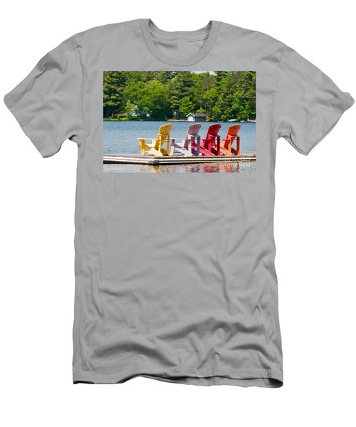 Men's T-Shirt (Slim Fit) featuring the photograph Colorful Chairs by Les Palenik