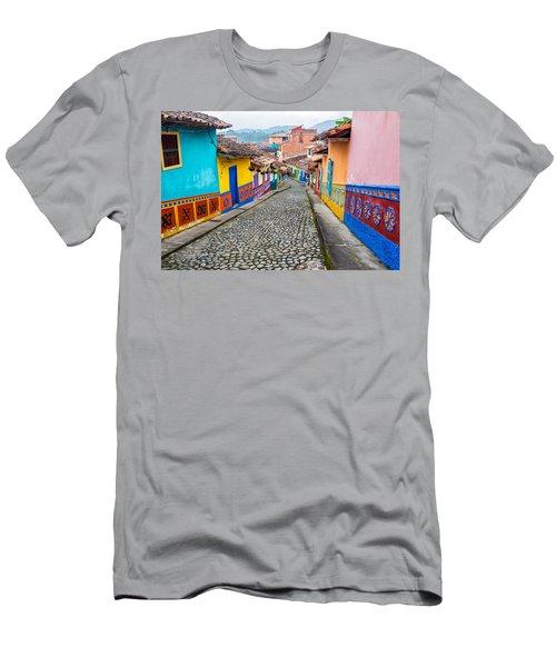 Colorful Cobblestone Street Men's T-Shirt (Athletic Fit)