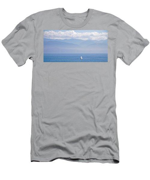 Colors Of Alaska - Sailboat And Blue Men's T-Shirt (Athletic Fit)