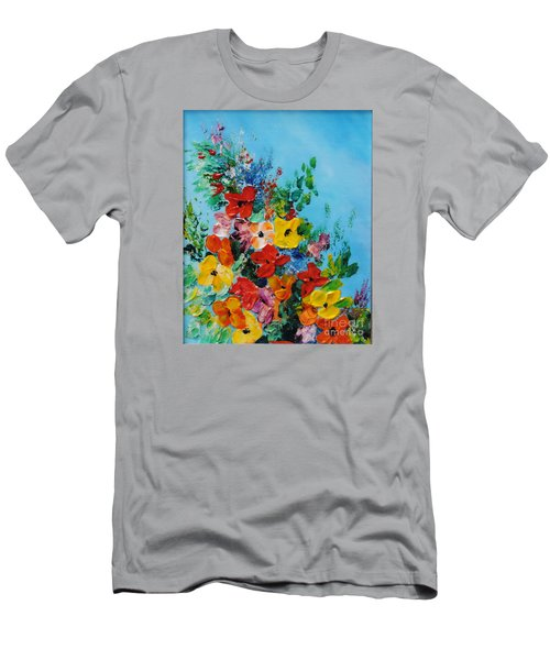 Men's T-Shirt (Slim Fit) featuring the painting Colour Of Spring by Teresa Wegrzyn