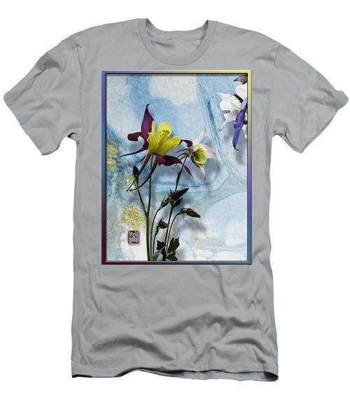 Columbine Blossom With Suminagashi Ink Men's T-Shirt (Athletic Fit)