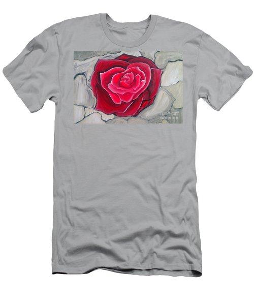 Concrete Rose Men's T-Shirt (Slim Fit) by Marisela Mungia
