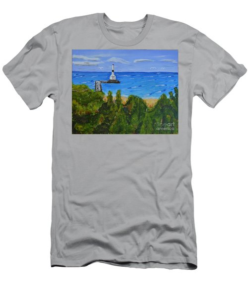Summer, Conneaut Ohio Lighthouse Men's T-Shirt (Athletic Fit)