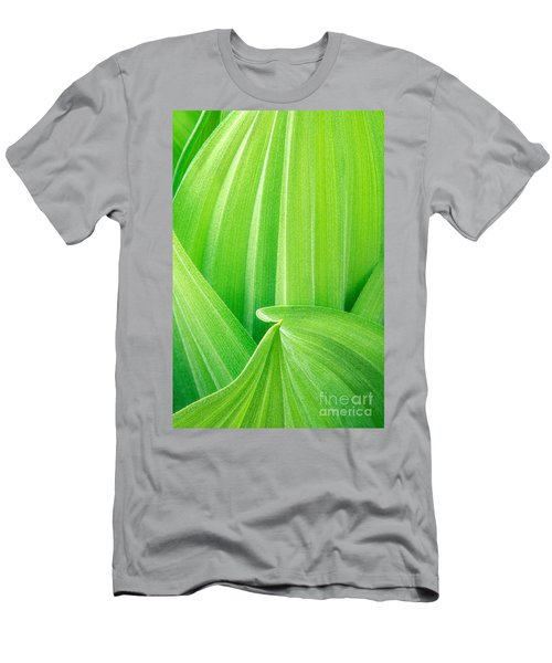 Men's T-Shirt (Slim Fit) featuring the photograph Corn Lily Leaf Detail Yosemite Np California by Dave Welling