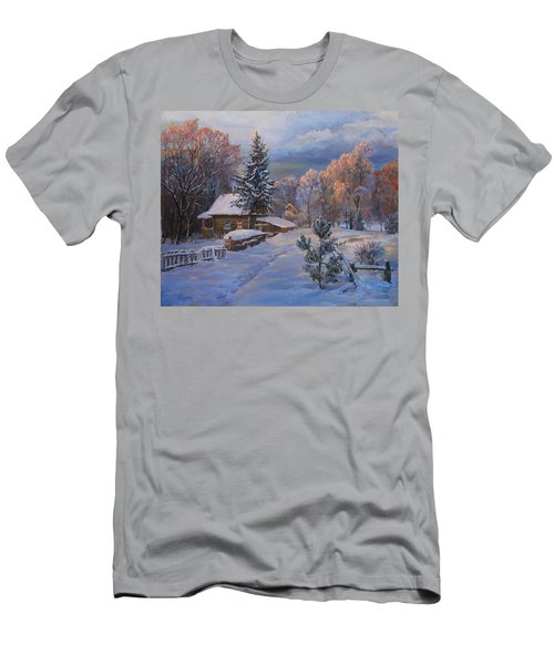Country House In Winter Men's T-Shirt (Athletic Fit)