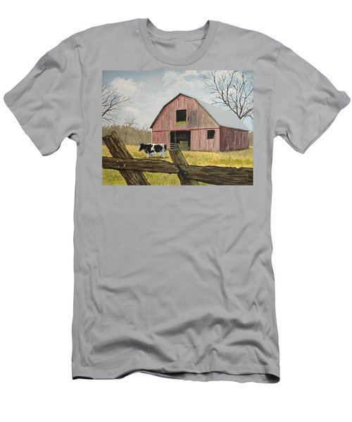 Cow And Barn Men's T-Shirt (Athletic Fit)