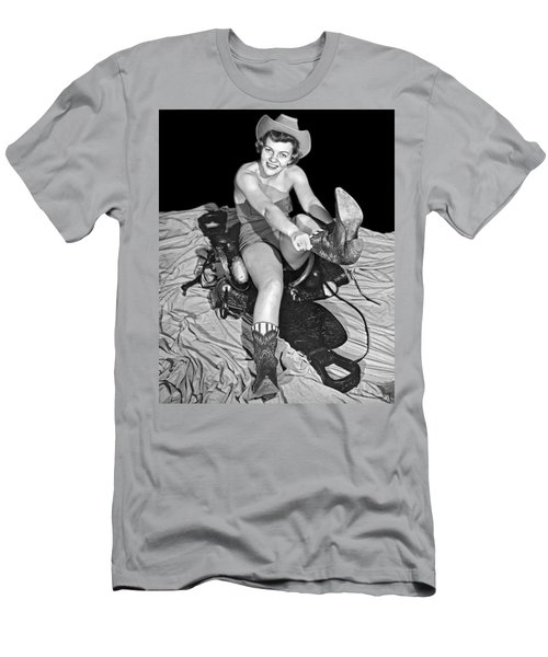 Cowgirl Pulls On Her Boots Men's T-Shirt (Athletic Fit)