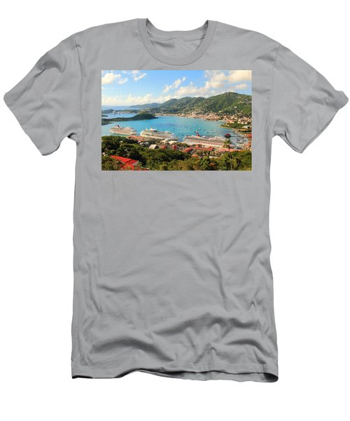 Cruise Ships In St. Thomas Usvi Men's T-Shirt (Athletic Fit)