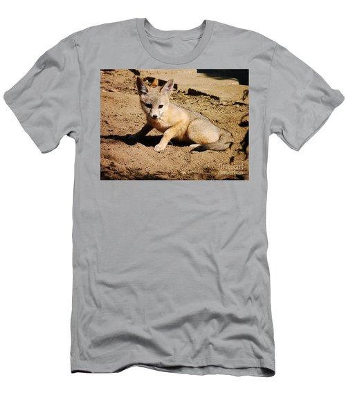 Curious Kit Fox Men's T-Shirt (Slim Fit) by Meghan at FireBonnet Art