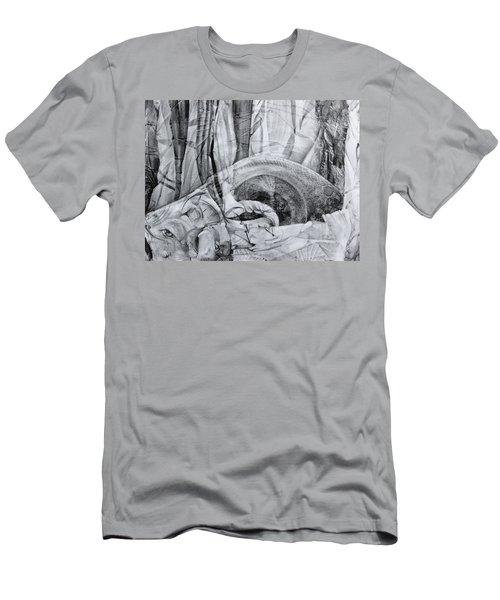 Das Monster Hat Sich Im Ungebuegelten Hintergrund Versteckt Men's T-Shirt (Athletic Fit)