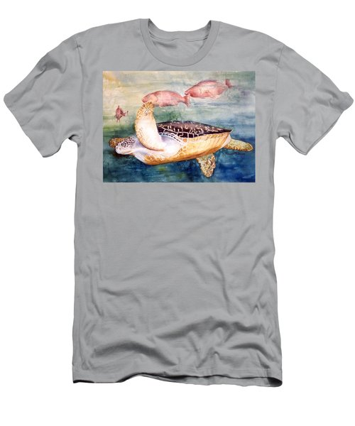 Men's T-Shirt (Slim Fit) featuring the painting Determined - Loggerhead Sea Turtle by Roxanne Tobaison