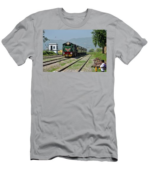 Men's T-Shirt (Slim Fit) featuring the photograph Diesel Electric Locomotive Speeds Past Student by Imran Ahmed
