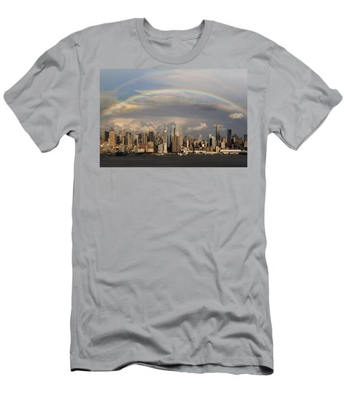 Double Rainbow Over Nyc Men's T-Shirt (Athletic Fit)