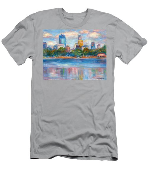 Downtown Minneapolis Skyline From Lake Calhoun II - Or Commission Your City Painting Men's T-Shirt (Athletic Fit)