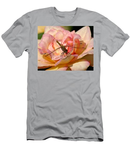 Dragonfly On A Rose Men's T-Shirt (Athletic Fit)