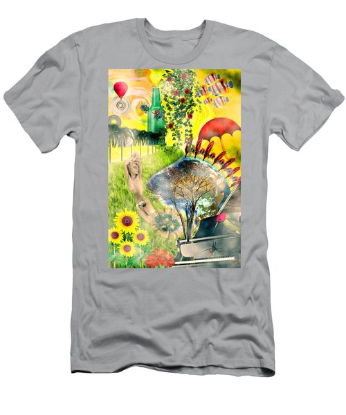 Men's T-Shirt (Slim Fit) featuring the mixed media Drifting Away by Ally  White