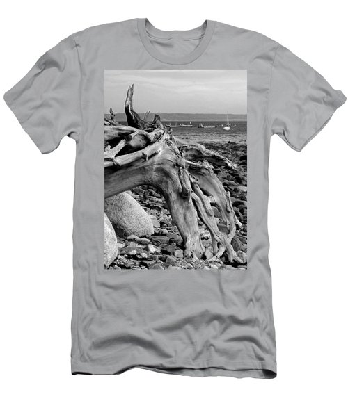 Driftwood On Rocky Beach Men's T-Shirt (Athletic Fit)