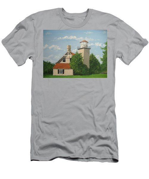 Men's T-Shirt (Slim Fit) featuring the painting Eagle Bluff Lighthouse Wisconsin by Norm Starks