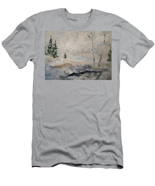 Men's T-Shirt (Slim Fit) featuring the painting Early Snow by Alan Lakin