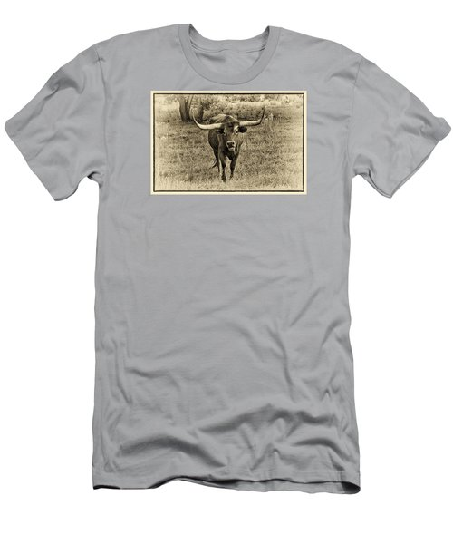 Eat Leaf Not Beef Sepia Men's T-Shirt (Slim Fit) by Priscilla Burgers