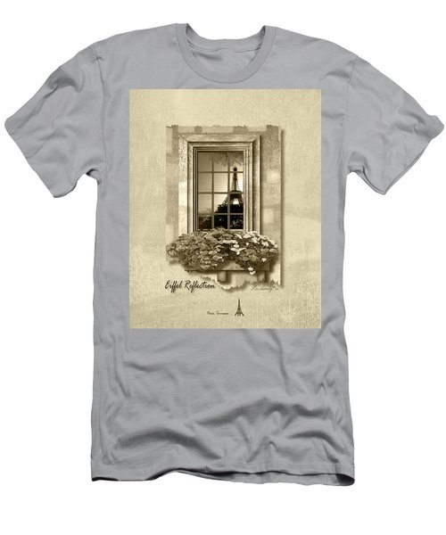 Eiffel Reflection In Sepia Men's T-Shirt (Athletic Fit)