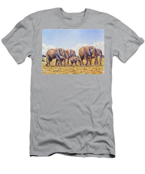 Elephants Walking Men's T-Shirt (Athletic Fit)