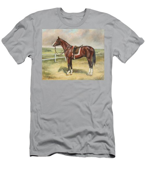 English Stallion Dark Bay Men's T-Shirt (Athletic Fit)