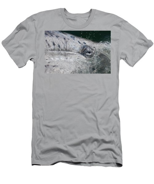 Men's T-Shirt (Slim Fit) featuring the photograph Eye Of A Young Gray Whale by Don Schwartz