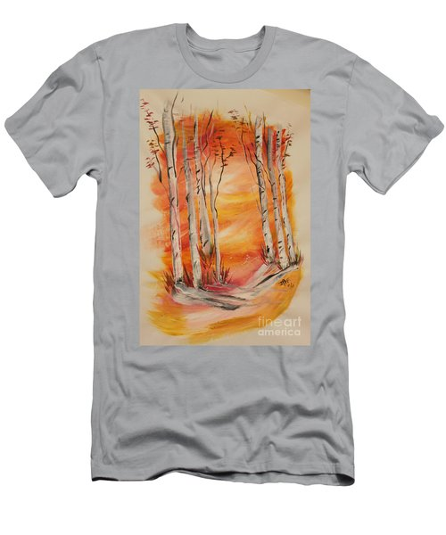 Men's T-Shirt (Slim Fit) featuring the painting Fall Aspen On Paper by Janice Rae Pariza