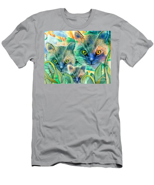 Men's T-Shirt (Slim Fit) featuring the painting Feline Family by Teresa Ascone