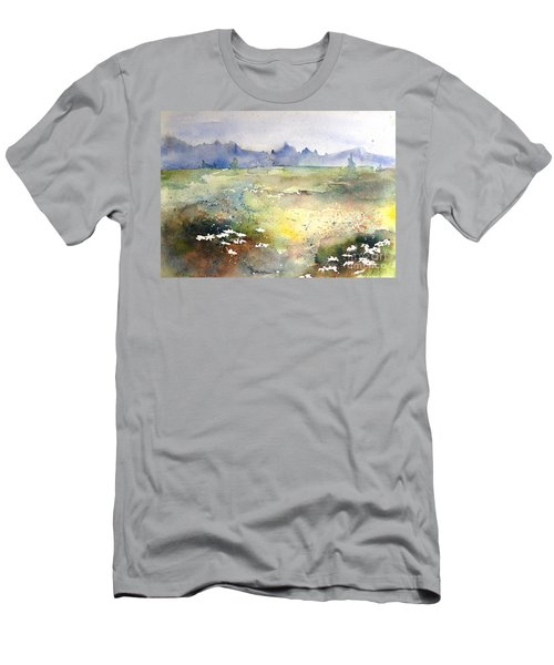 Men's T-Shirt (Slim Fit) featuring the painting Field Of Daisies by Marilyn Zalatan