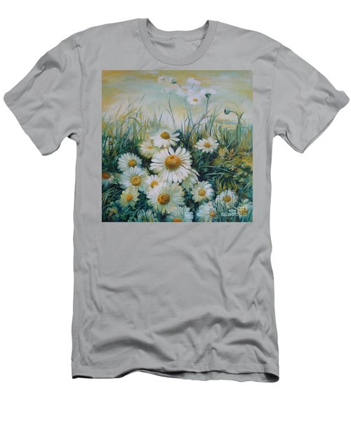 Men's T-Shirt (Slim Fit) featuring the painting Field Of Flowers by Elena Oleniuc