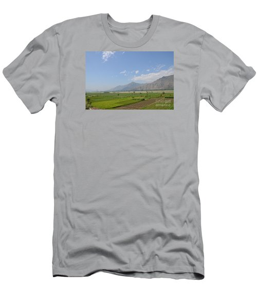 Men's T-Shirt (Slim Fit) featuring the photograph Fields Mountains Sky And A River Swat Valley Pakistan by Imran Ahmed