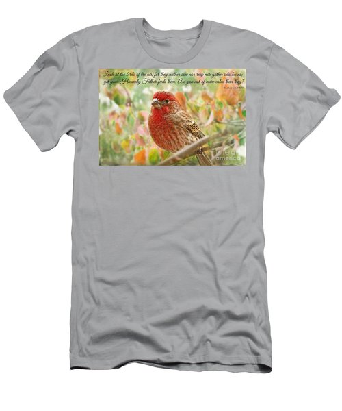 Finch With Verse New Version Men's T-Shirt (Slim Fit) by Debbie Portwood