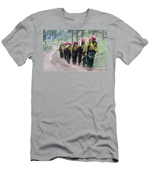 Men's T-Shirt (Slim Fit) featuring the photograph Fire Crew Walks To Their Assignment On Myrtle Fire by Bill Gabbert