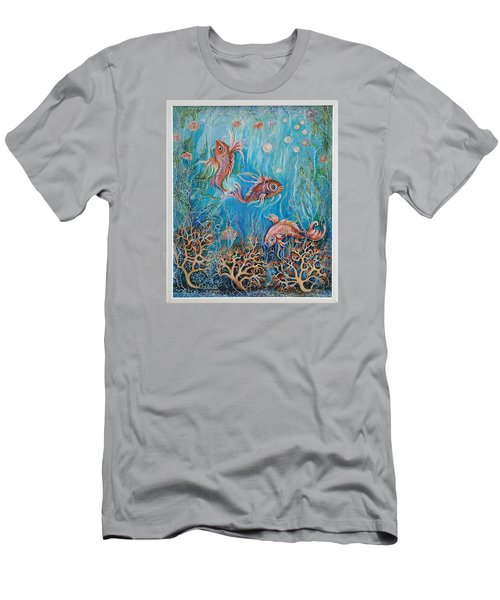 Fish In A Pond Men's T-Shirt (Slim Fit) by Yolanda Rodriguez