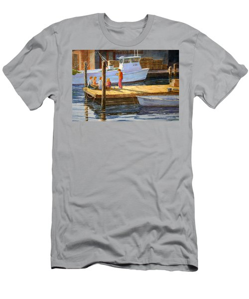 Men's T-Shirt (Slim Fit) featuring the painting Fish Tales At Cortez by Roger Rockefeller